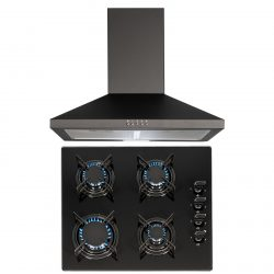 SIA 60cm Black 4 Burner Gas On Glass Hob And Pyramid Chimney Cooker Hood Fan