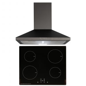 SIA 60cm Black 4 Zone Touch Control Induction Hob & Cooker Hood Extractor Fan