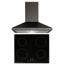SIA 60cm Black ECO 13 Amp 4 Zone Touch Control Induction Hob & Cooker Hood Fan