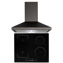 SIA 60cm Black 4 Zone Flexi-Bridge Touch Control Induction Hob & Cooker Hood Fan