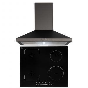 SIA 60cm Black 4 Zone Flexi-Bridge Touch Control Induction Hob & Cooker Hood Fan