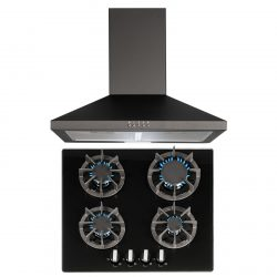 SIA R7 60cm Black 4 Burner Gas On Glass Hob And Pyramid Chimney Cooker Hood Fan