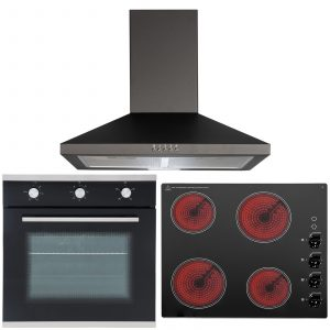 SIA 60cm Single Electric Fan Oven, 4 Zone Ceramic Electric Hob And Cooker Hood