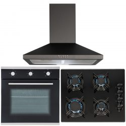 SIA 60cm Black Built In Electric Single Fan Oven, 4 Burner Gas Hob & Cooker Hood