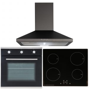 SIA 60cm Black Single Electric Fan Oven, 4 Zone Induction Hob & Cooker Hood Fan