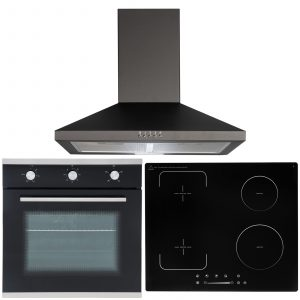 SIA 60cm Single Fan Oven, 4 Zone Flexi-Bridge Induction Hob And Cooker Hood Fan