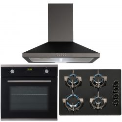 SIA 60cm Black Single True Fan Oven, 4 Burner Gas On Glass Hob And Cooker Hood