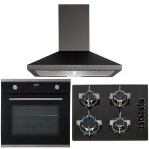 SIA 60cm Black Single True Fan Oven, 4 Burner Gas On Glass Hob And Cooker Hood