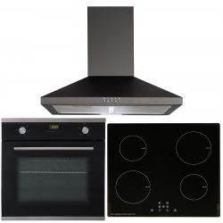 SIA 60cm Black Single Fan Oven, 4 Zone Touch Control Induction Hob & Cooker Hood