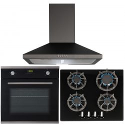 SIA 60cm Single Electric True Fan Oven, 4 Burner Gas Hob And Pyramid Cooker Hood