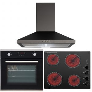 SIA 60cm Touch Control Single Fan Oven, 4 Zone Ceramic Hob And Cooker Hood Fan