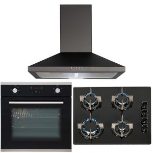 SIA 60cm Black Touch Control Single Fan Oven, 4 Burner Gas Hob & Chimney Hood