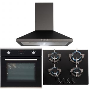 SIA 60cm Black Single Touch Control Fan Oven, 4 Burner Gas Hob And Cooker Hood