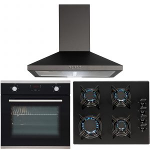 SIA 60cm Black Touch Control Single Fan Oven, 4 Burner Gas Hob & Cooker Hood Fan