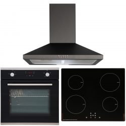SIA 60cm Single Electric Fan Oven, ECO 13 Amp 4 Zone Induction Hob & Cooker Hood