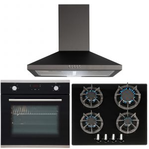 SIA 60cm Single Touch Control Fan Oven, 4 Burner Gas Hob & Pyramid Cooker Hood