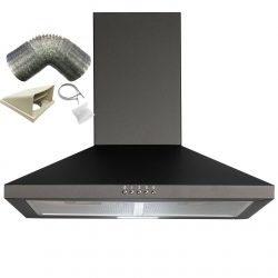 SIA CHL60BL 60cm Pyramid Chimney Cooker Hood Extractor Fan In Black & 1m Ducting