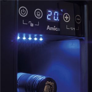 Amica AWC150BL 15cm Black Free Standing Under Counter LED 6 Bottle Wine Cooler