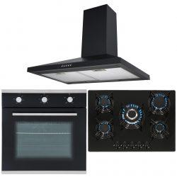 SIA Black Single Electric Oven, 5 Burner Gas On Glass Hob & Chimney Cooker Hood
