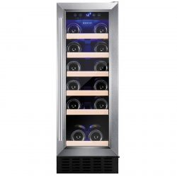 Amica AWC300SS 30cm Stainless Steel Free Standing Under Counter LED Wine Cooler