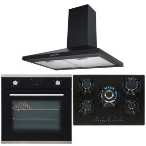 SIA Black Touch Control Single Oven, 5 Burner Gas Hob & Chimney Cooker Hood Fan