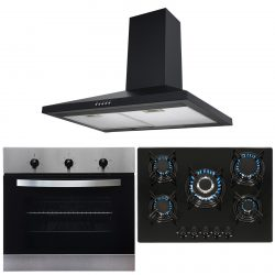 SIA Stainless Steel Single True Fan Oven, 5 Burner Gas Hob And Chimney Extractor