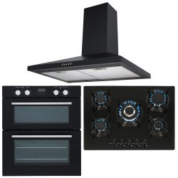 SIA Double Built Under Electric Fan Oven, 5 Burner Gas Hob & Chimney Cooker Hood