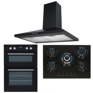 SIA Double Built In Electric Fan Oven, 5 Burner Gas Hob And Chimney Cooker Hood