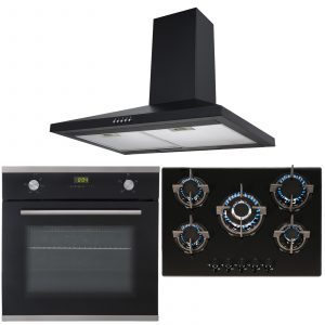 SIA Black Single Electric True Fan Oven, 5 Burner Glass Gas Hob And Chimney Hood