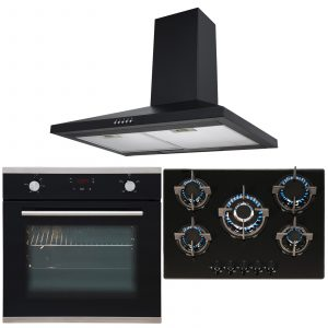 SIA Black Touch Control Single Oven, 5 Burner Gas Hob And Chimney Extractor Fan