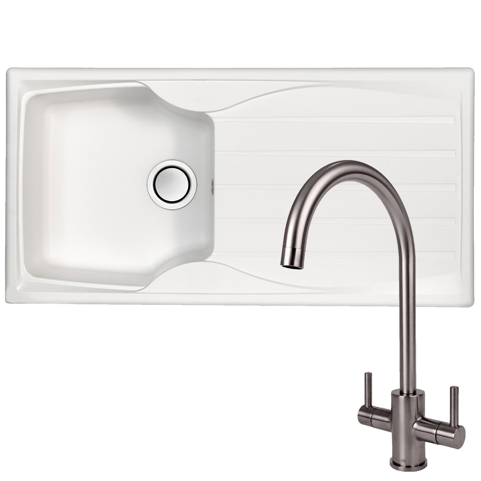 Astracast sierra 1 bowl white kitchen sink reginox genesis swan neck steel tap at ship it appliances