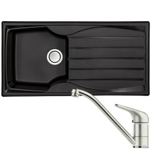 Astracast Sierra 1.0 Bowl Black Kitchen Sink & Clearwater Creta Chrome Mixer Tap