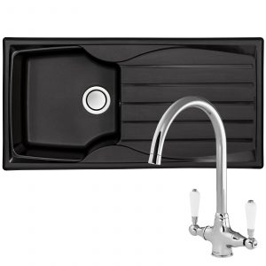 Astracast Sierra 1.0 Bowl Black Kitchen Sink And Reginox Elbe Chrome Mixer Tap