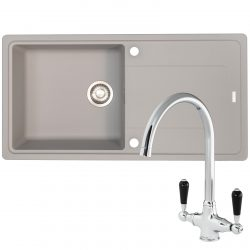 Franke Gemini 1 Bowl Grey Tectonite Kitchen Sink And Reginox Brooklyn Mixer Tap