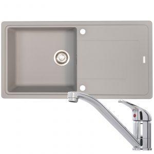 Franke Gemini 1 Bowl Grey Reversible Kitchen Sink And CDA TC10 Chrome Mixer Tap