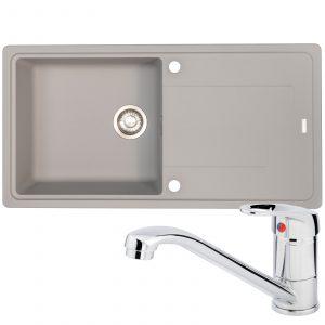 Franke Gemini 1 Bowl Grey Tectonite Reversible Kitchen Sink And Zeno Chrome Tap