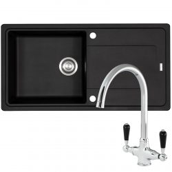 Franke Gemini 1 Bowl Black Tectonite Kitchen Sink And Reginox Brooklyn Mixer Tap