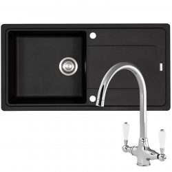 Franke Gemini 1 Bowl Black Tectonite Kitchen Sink And Reginox Elbe Swan Neck Tap