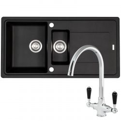 Franke Gemini 1.5 Bowl Black Tectonite Kitchen Sink & Reginox Brooklyn Mixer Tap