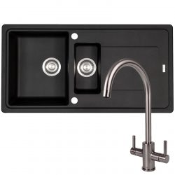 Franke Gemini 1.5 Black Tectonite Kitchen Sink And Reginox Genesis Swan Neck Tap