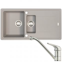 Franke Gemini 1.5 Bowl Stone Grey Kitchen Sink And Clearwater Creta Mixer Tap