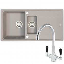 Franke Gemini 1.5 Bowl Grey Tectonite Kitchen Sink & Reginox Brooklyn Mixer Tap
