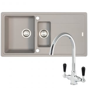 Franke Gemini 1.5 Bowl Grey Tectonite Kitchen Sink & Reginox Brooklyn Mixer Tap