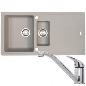 Franke Gemini 1.5 Bowl Grey Reversible Kitchen Sink & CDA TC10 Chrome Mixer Tap