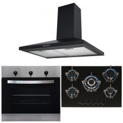 SIA Black Single Electric True Fan Oven, 5 Burner Gas Hob And Chimney Hood Fan