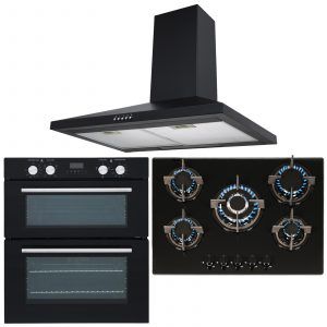 SIA Double Built Under Electric Fan Oven, 5 Burner Gas Glass Hob & Chimney Hood