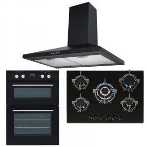SIA Double Built In Electric Fan Oven, 5 Burner Gas On Glass Hob & Chimney Hood
