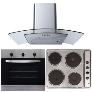 SIA 60cm Single Electric True Fan Oven, 4 Zone Hob & Curved Glass Cooker Hood