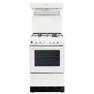 New World 55THLG 55cm White Freestanding 4 Burner Gas Cooker And Eye Level Grill
