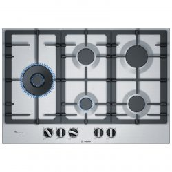 BOSCH PCS7A5B90 75cm Stainless Steel 5 Burner Gas Hob With Cast Iron Supports